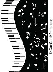 música nota, con, piano