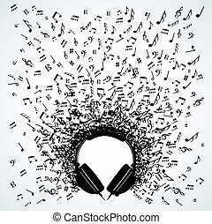 música nota, de, auriculares, aislado, diseño