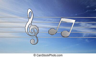 música nota, delante de, cielo, plano de fondo