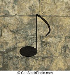 música nota, en, estrofas, con, resumen, plano de fondo