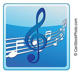 música nota, en, estrofas, icono