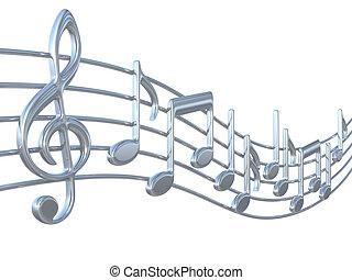 música nota, en, estrofas