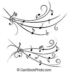 música nota, en, ornamental, personal