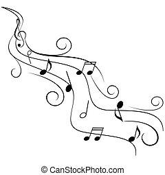 música nota, en, remolino, travesaño