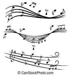 música nota, en, travesaño