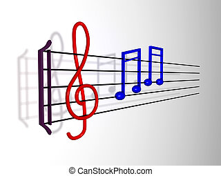 música nota, en, un, travesaño
