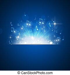música nota, explosión, fondo azul