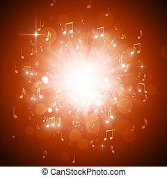 música nota, explosión