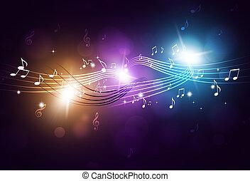 música nota, fiesta, plano de fondo