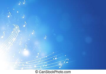 música nota, fondo azul