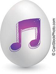 música nota, huevo