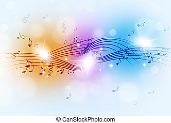 música nota, multicolor, plano de fondo