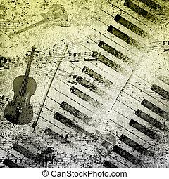 música nota, plano de fondo
