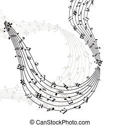 música nota, remolino