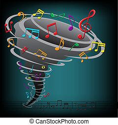 música nota, tornado, en, el, fondo oscuro
