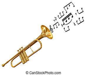 música nota, trompeta