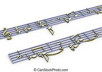 música, notación, 3d