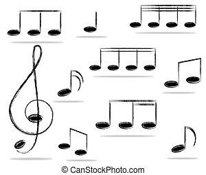 música, notas.