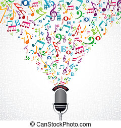 música, notas, desenho, microfone