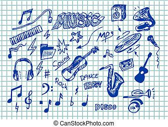 música, objeto, mão, desenhado