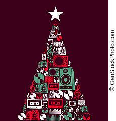música, objetos, árvore, natal