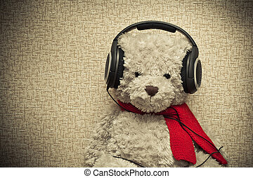 música, oso, retro, escuchar