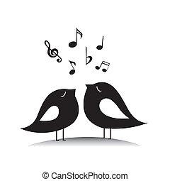 música, pássaros