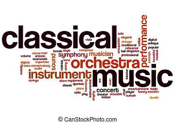 música, palavra, clássico, nuvem
