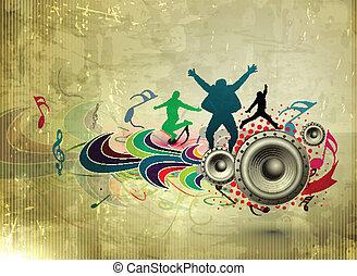 música, partido, cartaz
