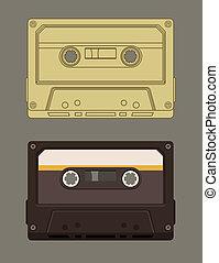 música, pasado de moda, cassette