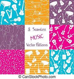 música, patrones, colección, seamless