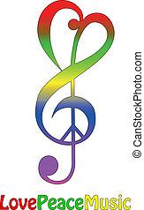 música, paz, amor, isolado
