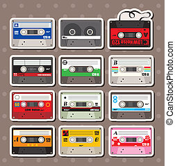 música, pegatinas, cintas