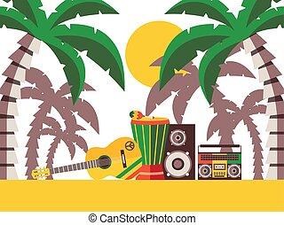 música, percusión, illustration., musical, vector, fiesta, ...