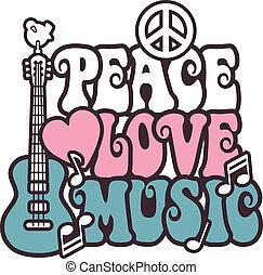 música, pink-blue, amor, paz