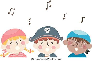 música, piratas, crianças, cantando, notas, ilustração
