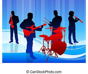 música, plano de fondo, azul, banda