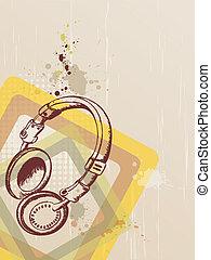 música, plano de fondo, con, auriculares