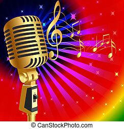 música, plano de fondo, con, gold(en), micrófono, y, nota