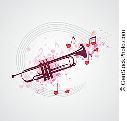 música, plano de fondo, con, trompeta