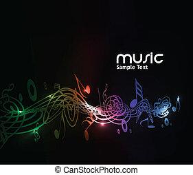 música, plano de fondo, nota