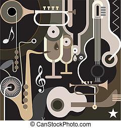 música, plano de fondo, -, resumen, vector