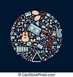 música, plano, iconos, en, círculo
