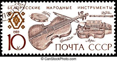 música popular, franqueo, belorussian, estampilla, instrumentos