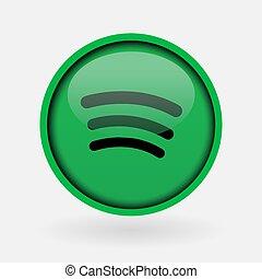 música, -, popular, logotipo, impreso, spotify., marzo, blanco, paper:, 2, pavo, 2019:, estambul, medios, social