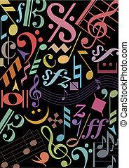 música, pretas, colorido, sinais