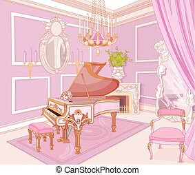 música, princesa, habitación