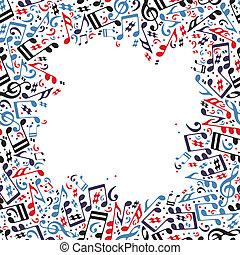 música, quadro, feito, com, notas.