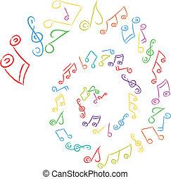 música, redemoinho, notas