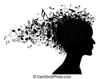 música, retrato mulher, silueta